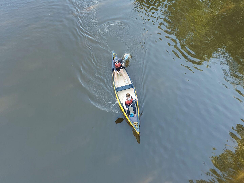 Hire a Canoe customers paddling under Frankwell Bridge